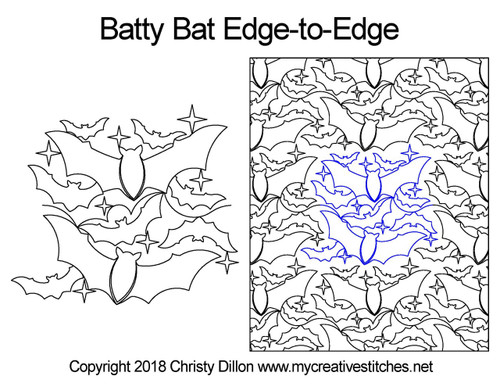 Batty bat edge to edge quilting design
