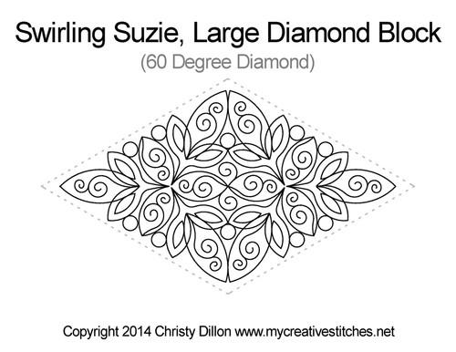 Swirling suzie large diamond block quilt design