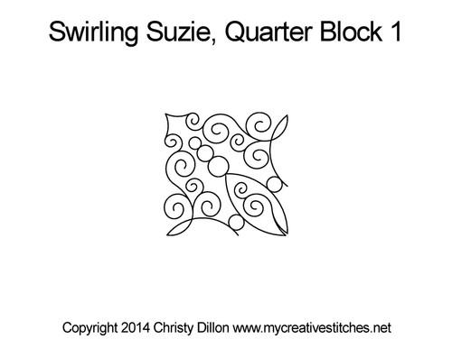 Swirling suzie quarter quilting ideas for block