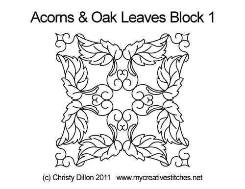 Acorns & oak leaves block 1 quilting pattern