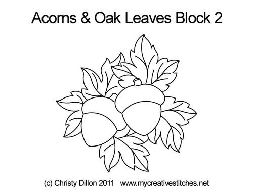 Acorns & Oak leaves block quilt pattern