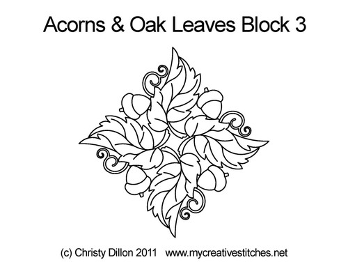 Acorns & oak leaves quilting pattern for block 3