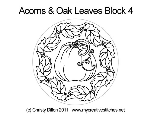 Acorns & oak leaves quilting pattern for block 4