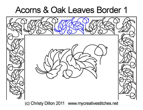 Acorns & Oak leaves border quilt pattern