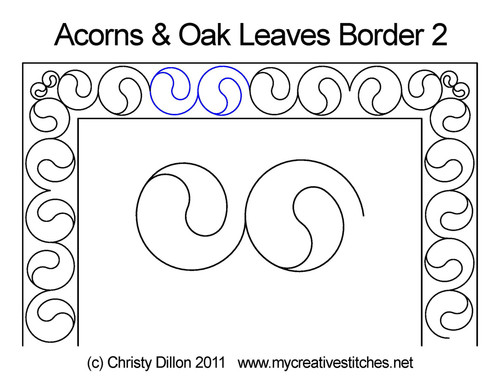 Acorns & Oak leaves border quilt design