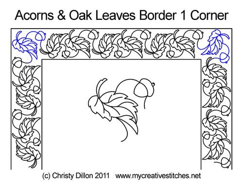 Acorns & oak leaves border & corner 1 designs