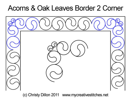 Acorns & oak leaves border 2 corner quilting