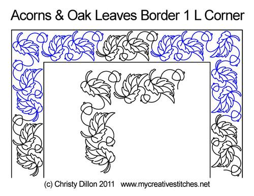 Acorns & oak leaves border 1 L corner quilt pattern