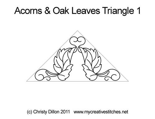 Acorns & Oak leaves triangle quilt pattern