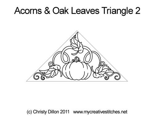 Acorns & oak leaves digital triangle quilt pattern