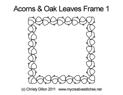 Acorns & Oak leaves frame size quilt design
