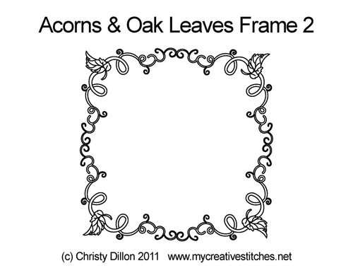 Acorns & Oak leaves frame quilt design