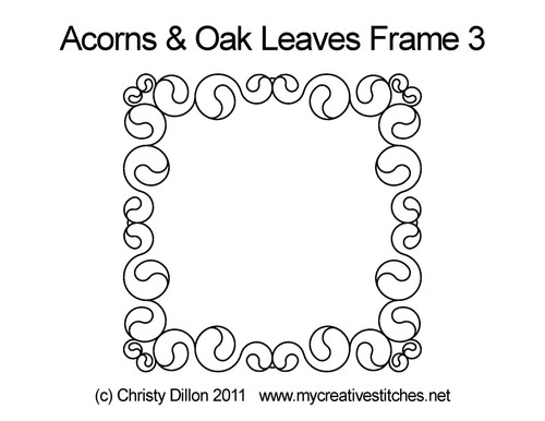 Acorns & oak leaves digital frame 3 quilting