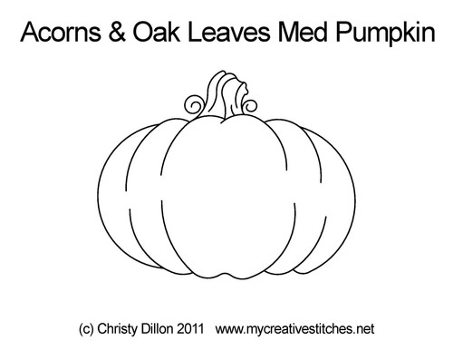 Acorns & oak leaves med pumpkin quilt design