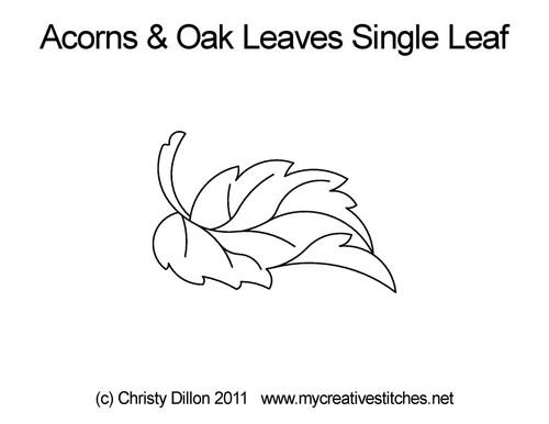 Acorns & oak leaves single leaf quilt pattern