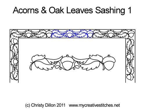 Acorns & oak leaves sashing 1 quilting pattern
