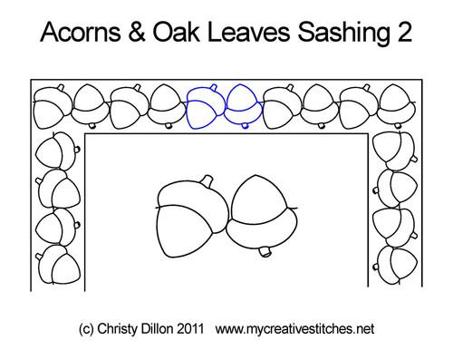 Acorns & Oak leaves sashing quilt design