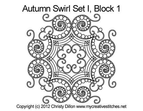 Autumn swirl quilting pattern for block 1