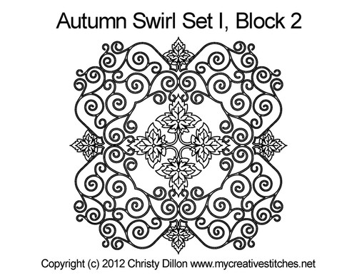 Autumn swirl quilting design for block 2