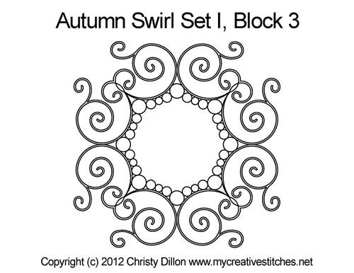 Autumn swirl round block 3 quilt pattern