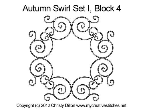 Autumn swirl round block 4 quilt pattern