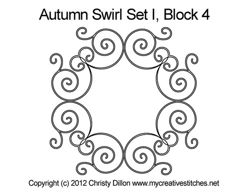 Autumn swirl round block 4 quilt pattern