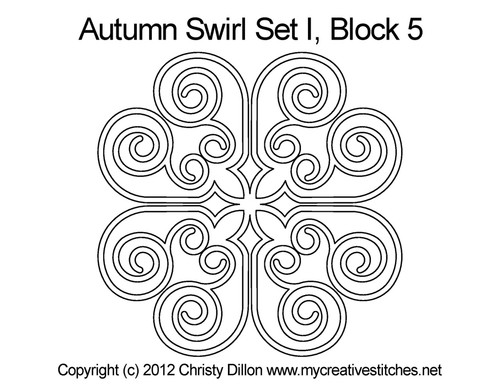 Autumn swirl triangle block 5 quilt design