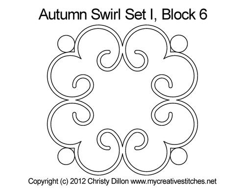 Autumn swirl round block 6 quilt pattern
