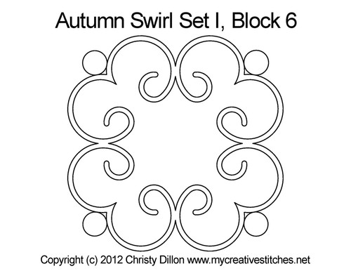 Autumn swirl round block 6 quilt pattern