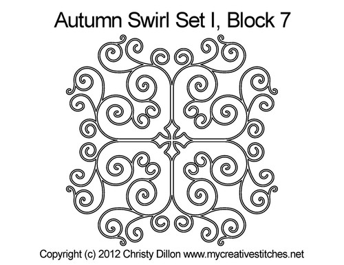 Autumn swirl quilting design for block 7
