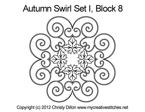 Autumn swirl quilting design for block 8