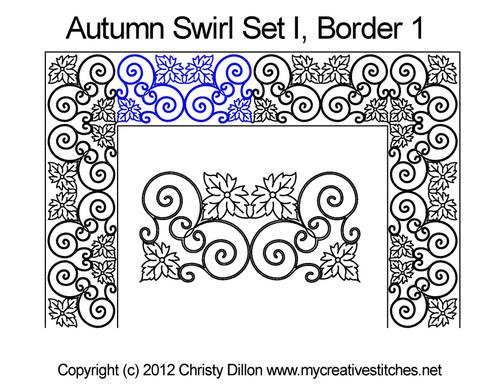 Autumn swirl digital border 1 quilting design