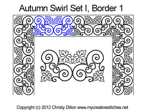 Autumn swirl digital border 1 quilting design