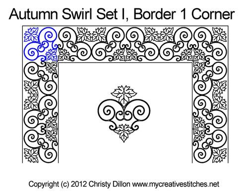 Autumn swirl border 1 corner quilt design
