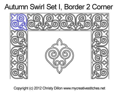 Autumn swirl border & corner quilt pattern