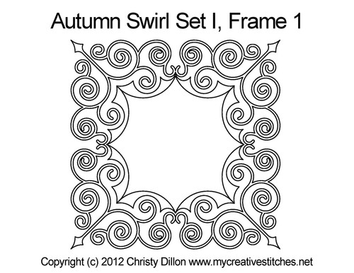Autumn swirl digitized frame 1 quilt pattern