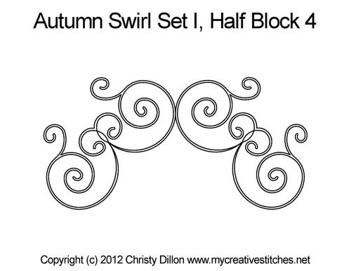 Autumn swirl half block 4 quilt pattern