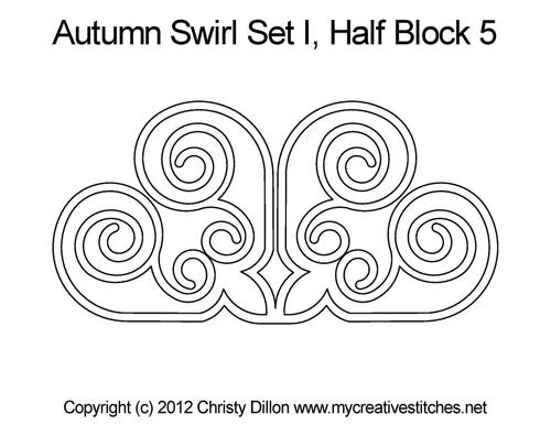 Autumn swirl half block 5 quilt pattern
