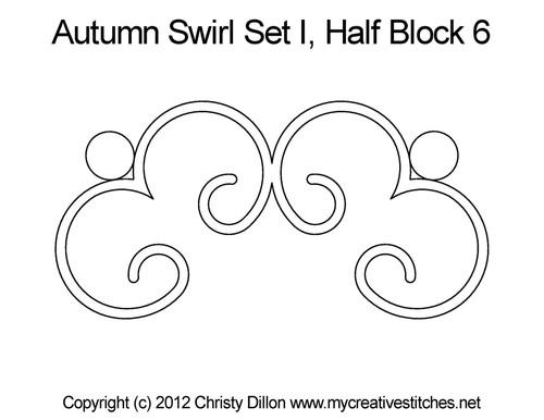Autumn swirl half block 6 quilt pattern