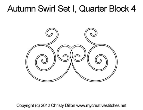 Autumn swirl quarter block quilt pattern
