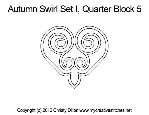 Autumn swirl quarter block quilt pattern