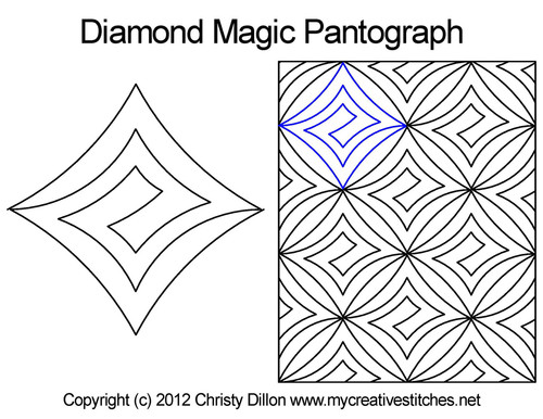 Diamond magic digitized quilt pantographs