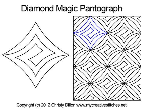 Diamond magic digitized quilt pantographs