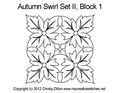 Autumn swirl square block 1 quilt pattern