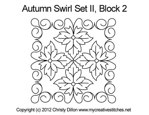 Autumn swirl square block 2 quilt pattern