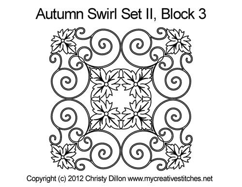Autumn swirl square block 3 quilt pattern