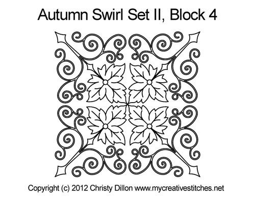 Autumn swirl quilting design for block 4