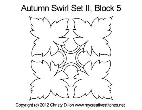Autumn swirl quilting design for block 5
