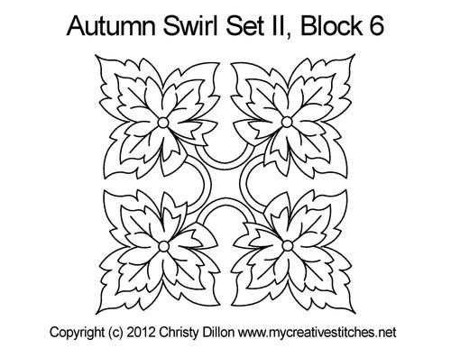 Autumn swirl square block 6 quilt pattern