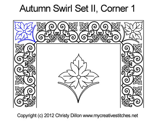 Autumn swirl set corner 1 quilting pattern